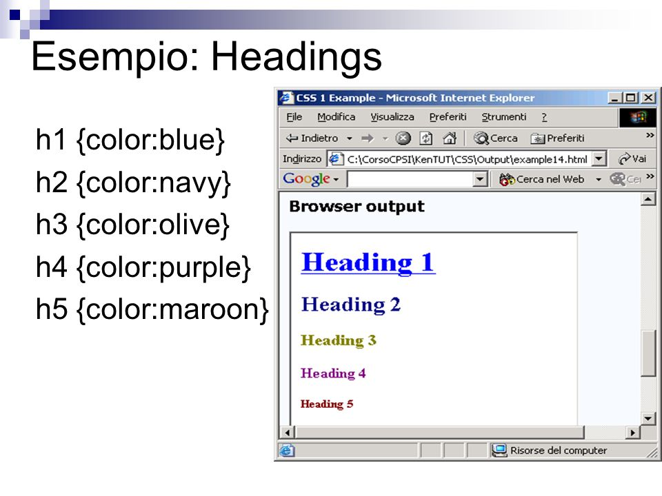 Esempio: Headings h1 {color:blue} h2 {color:navy} h3 {color:olive}