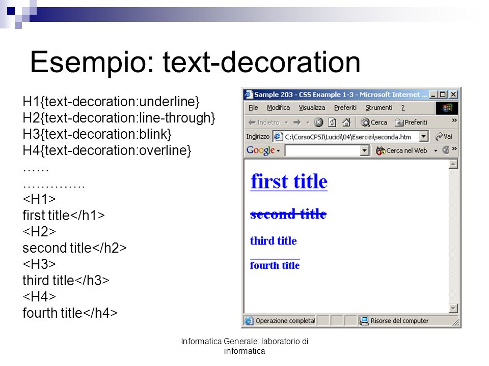 Esempio: text-decoration