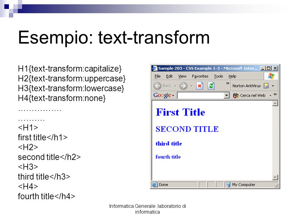 Esempio: text-transform