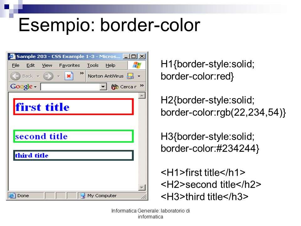 Esempio: border-color