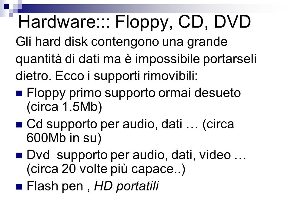 Hardware::: Floppy, CD, DVD