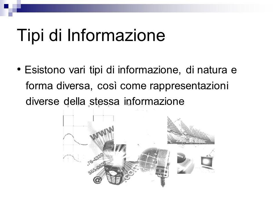 Tipi di Informazione • Esistono vari tipi di informazione, di natura e
