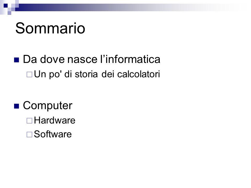 Sommario Da dove nasce l'informatica Computer