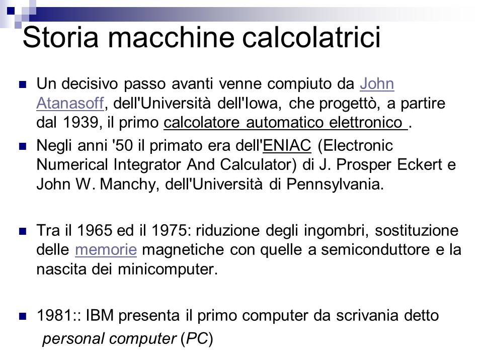 Storia macchine calcolatrici