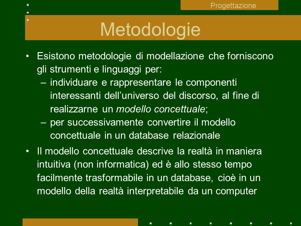 Progettazione Metodologie. Esistono metodologie di modellazione che forniscono gli strumenti e linguaggi per: