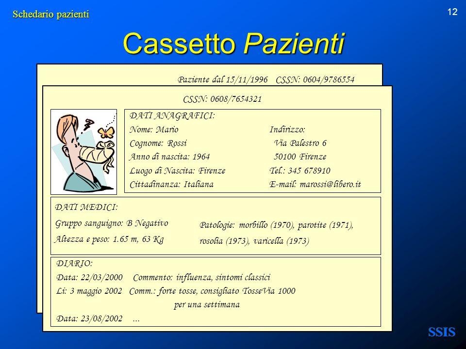 Cassetto Pazienti Schedario pazienti