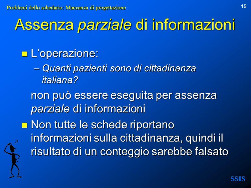 Assenza parziale di informazioni