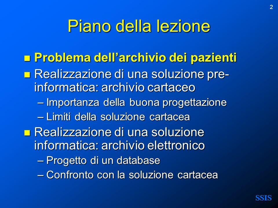 Piano della lezione Problema dell'archivio dei pazienti