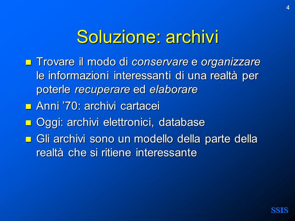 Soluzione: archivi Trovare il modo di conservare e organizzare le informazioni interessanti di una realtà per poterle recuperare ed elaborare.