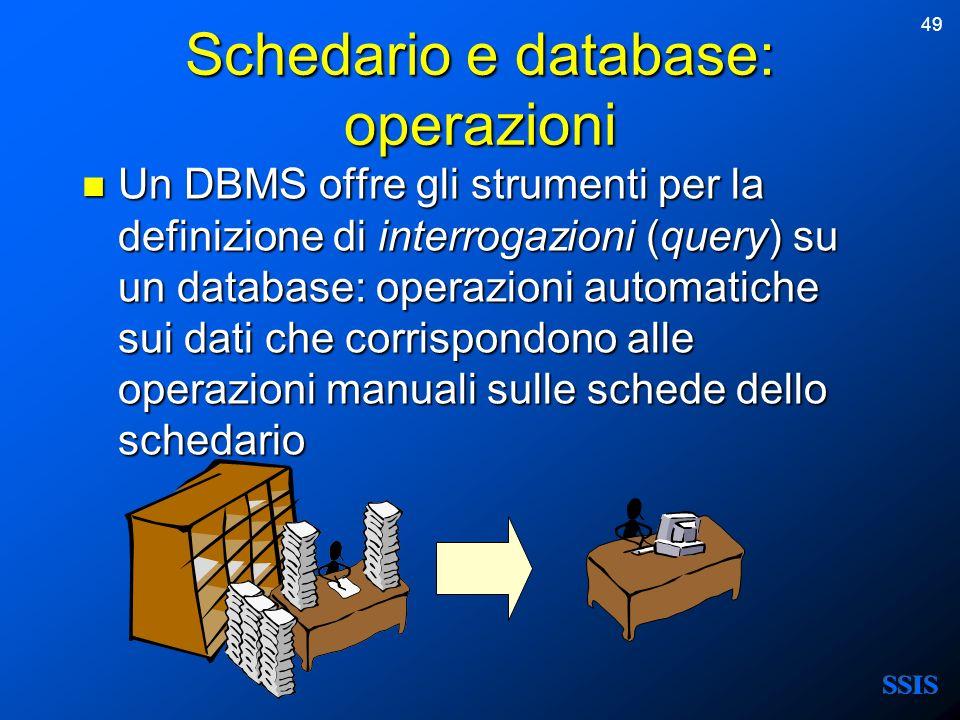 Schedario e database: operazioni