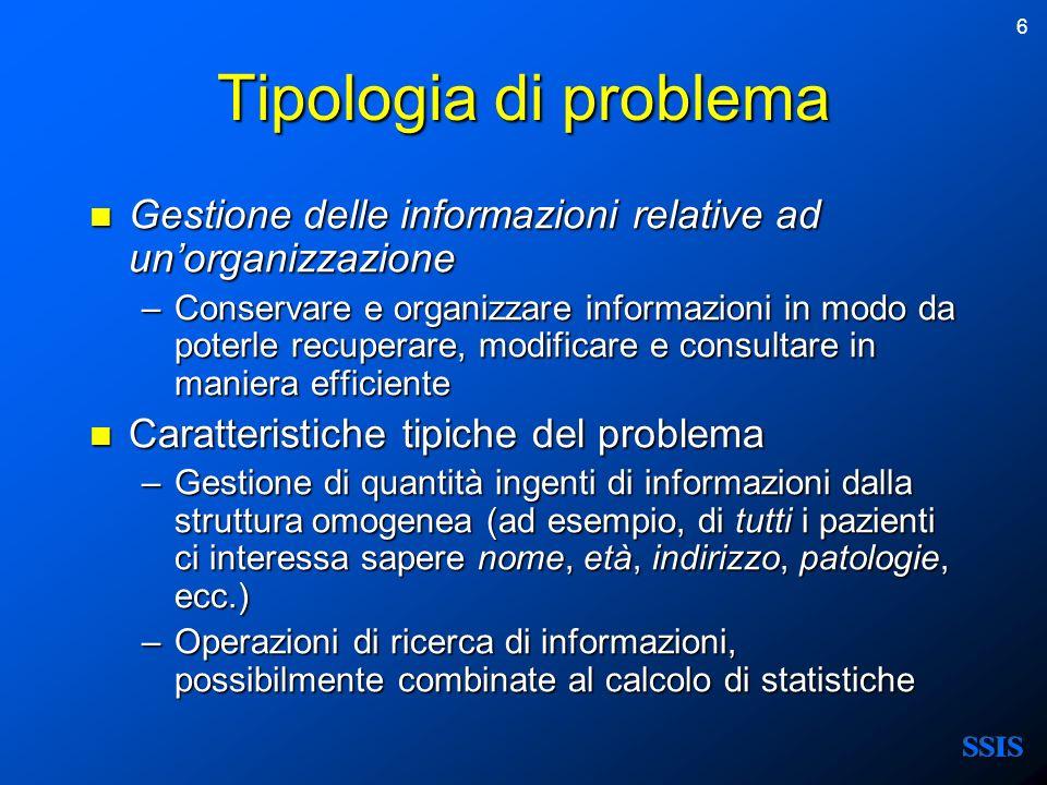 Tipologia di problema Gestione delle informazioni relative ad un'organizzazione.