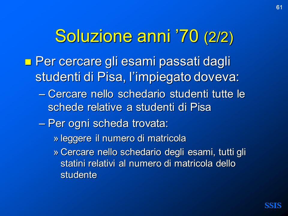 Soluzione anni '70 (2/2) Per cercare gli esami passati dagli studenti di Pisa, l'impiegato doveva: