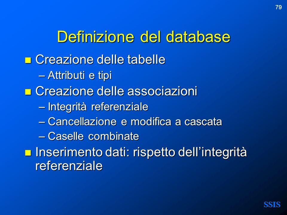 Definizione del database