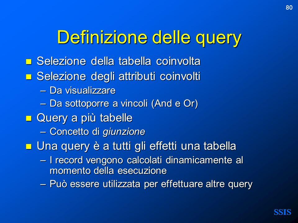 Definizione delle query