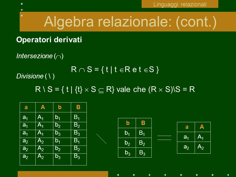 Algebra relazionale: (cont.)