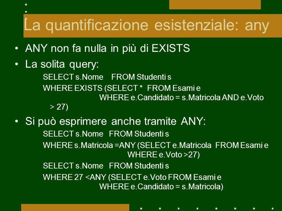 La quantificazione esistenziale: any