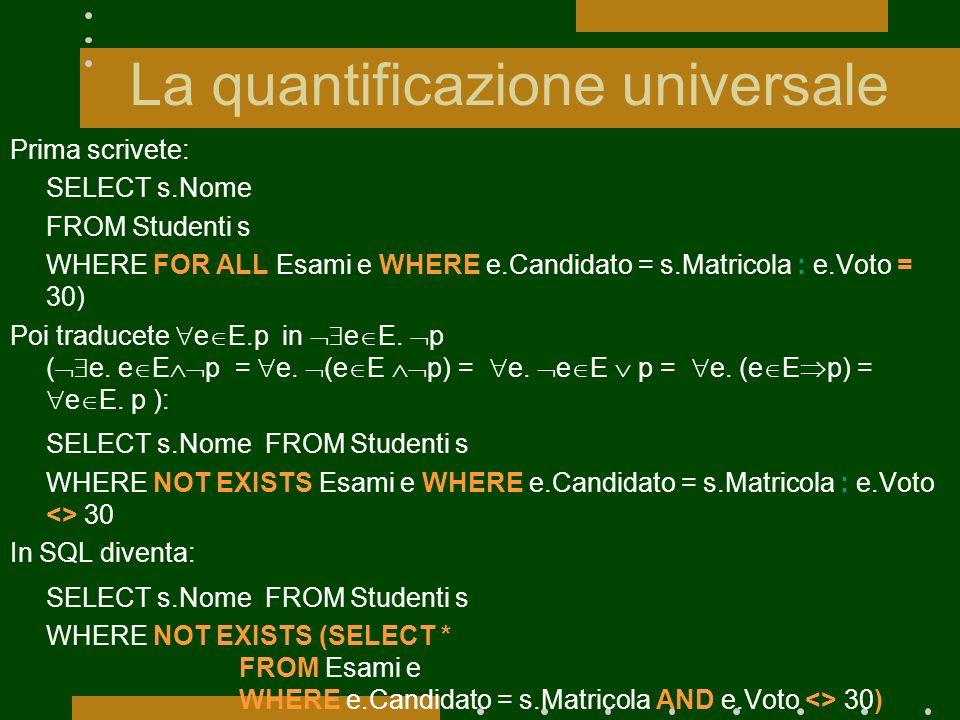 La quantificazione universale