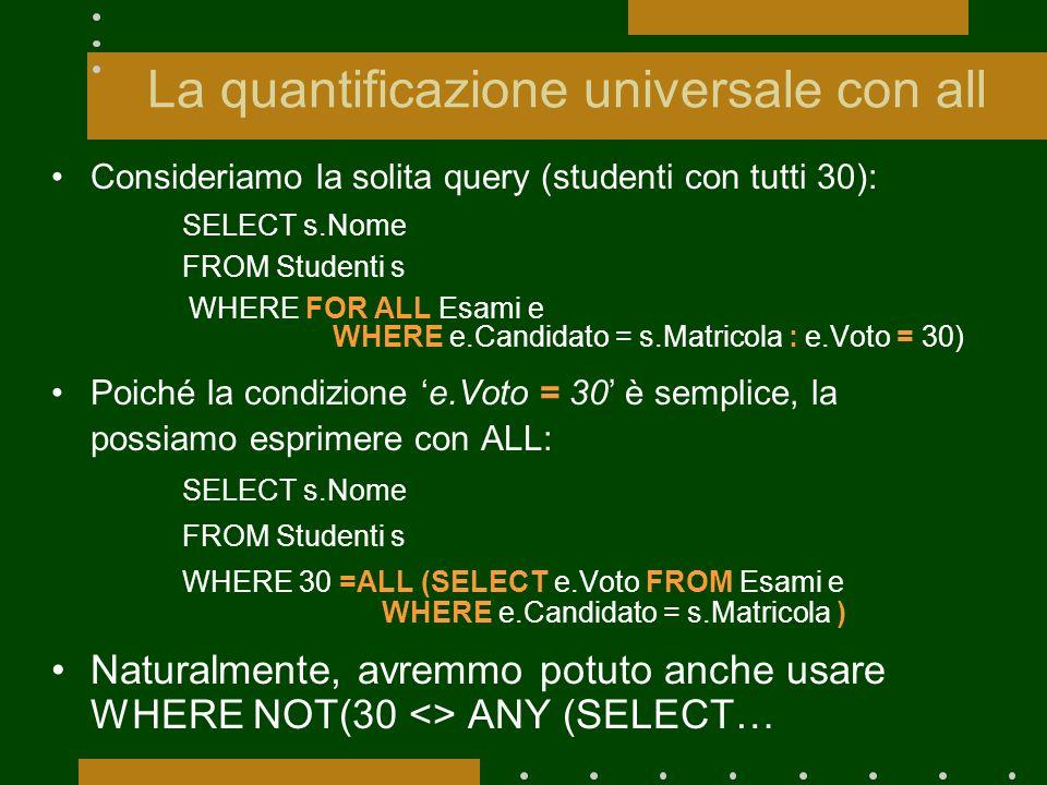 La quantificazione universale con all