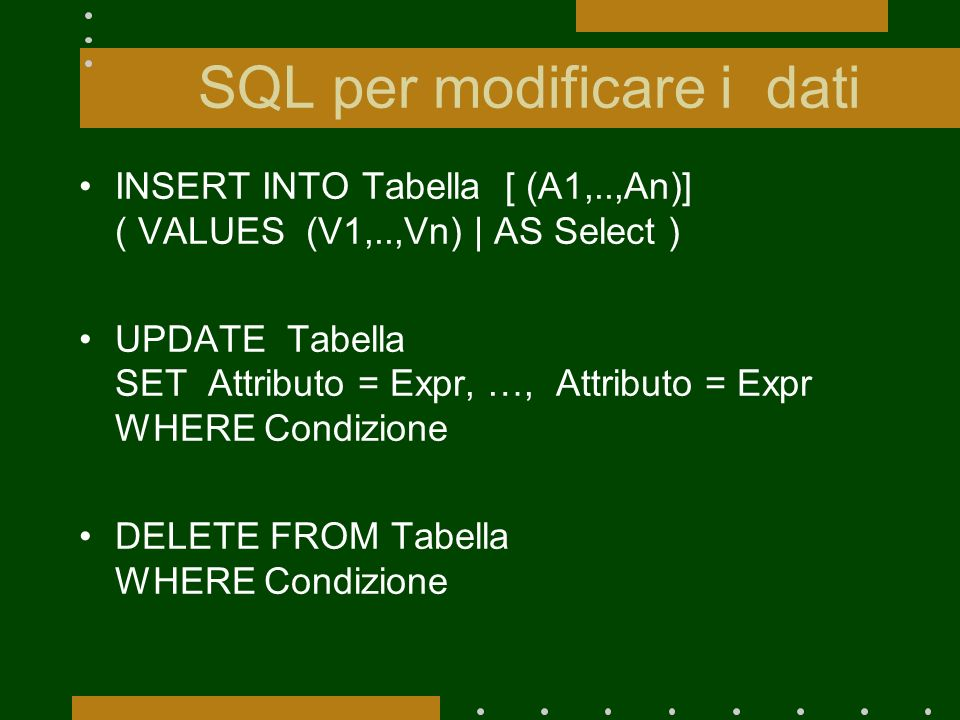 SQL per modificare i dati