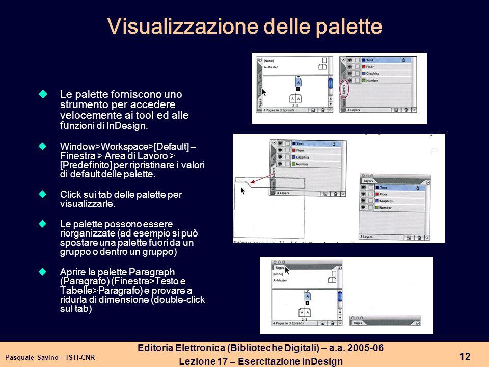 Visualizzazione delle palette