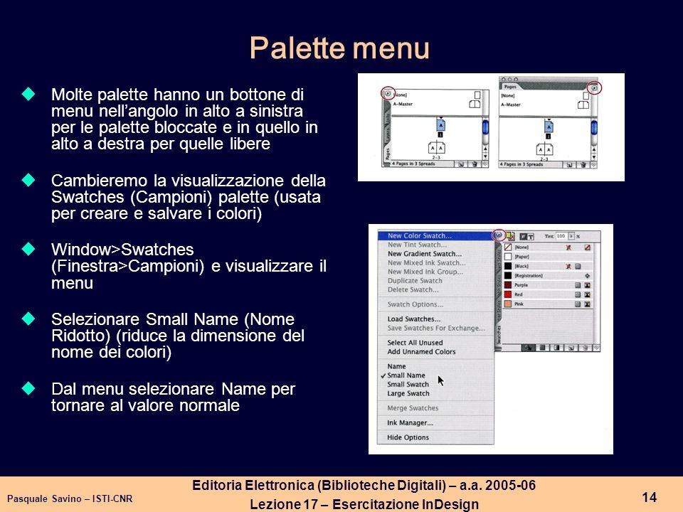 Palette menu