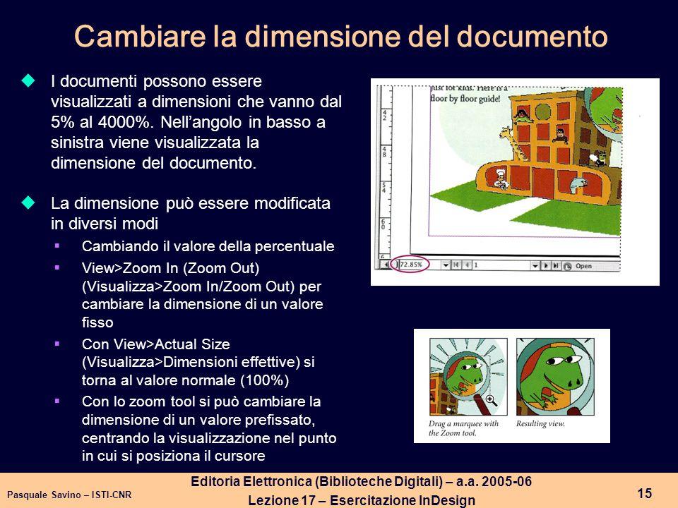 Cambiare la dimensione del documento