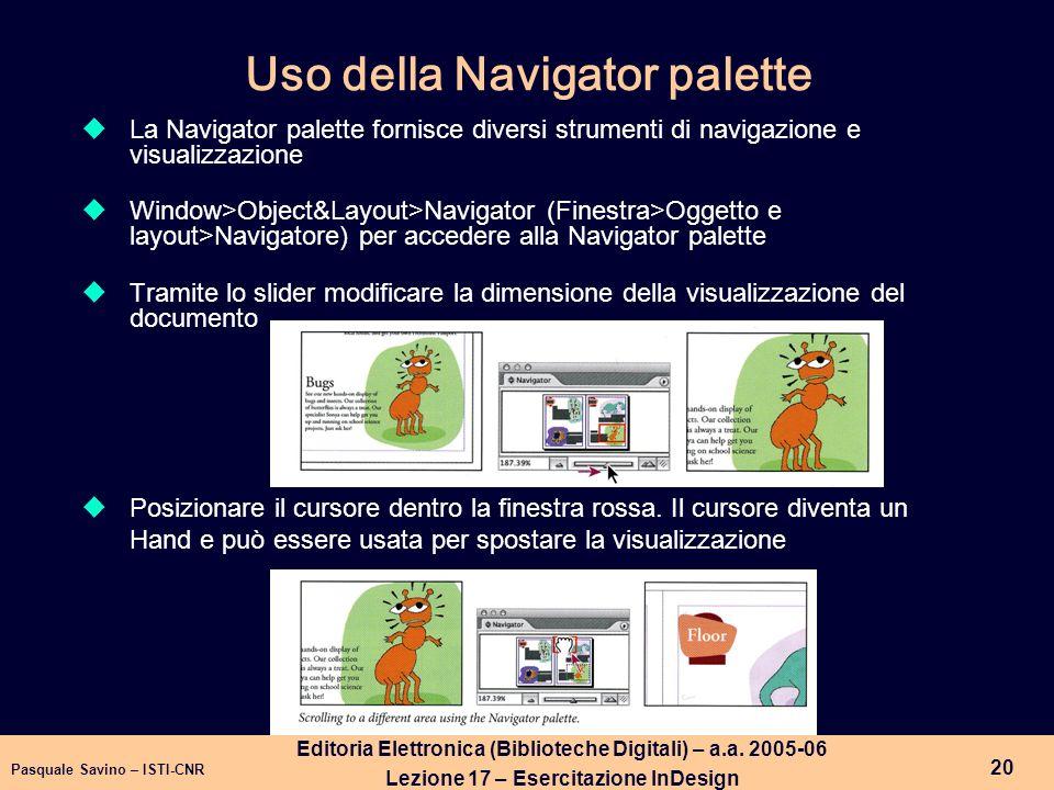 Uso della Navigator palette