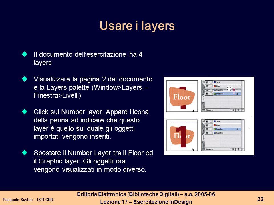 Usare i layers Il documento dell'esercitazione ha 4 layers