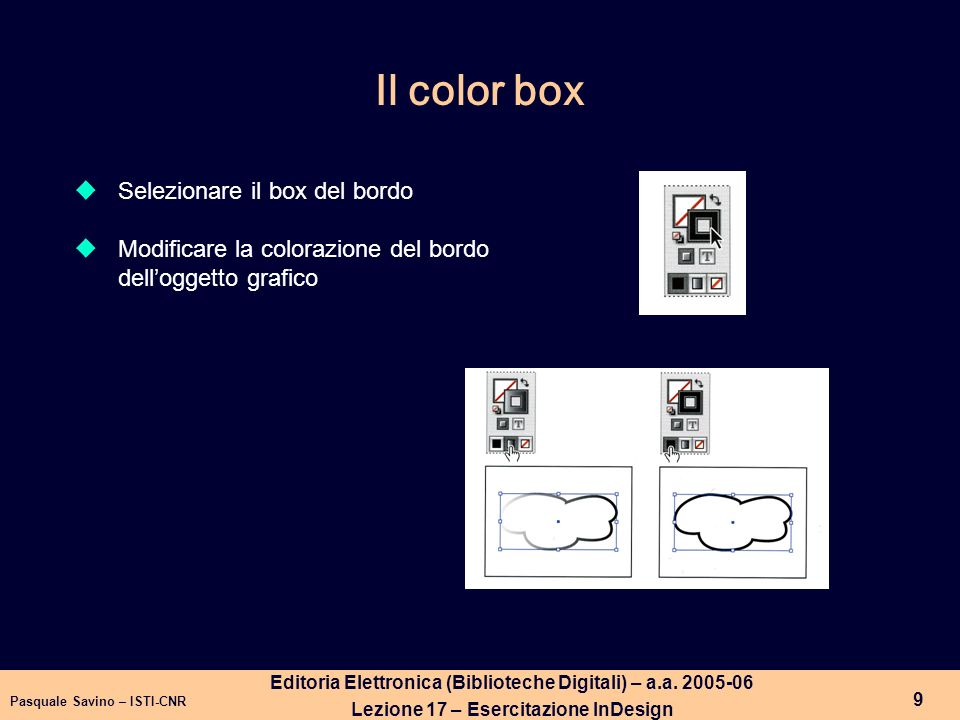 Il color box Selezionare il box del bordo