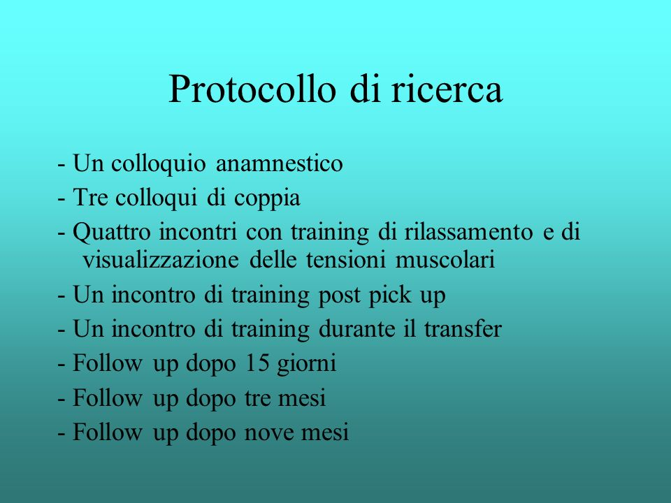 Protocollo di ricerca - Un colloquio anamnestico