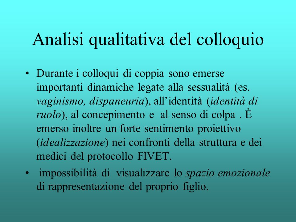 Analisi qualitativa del colloquio