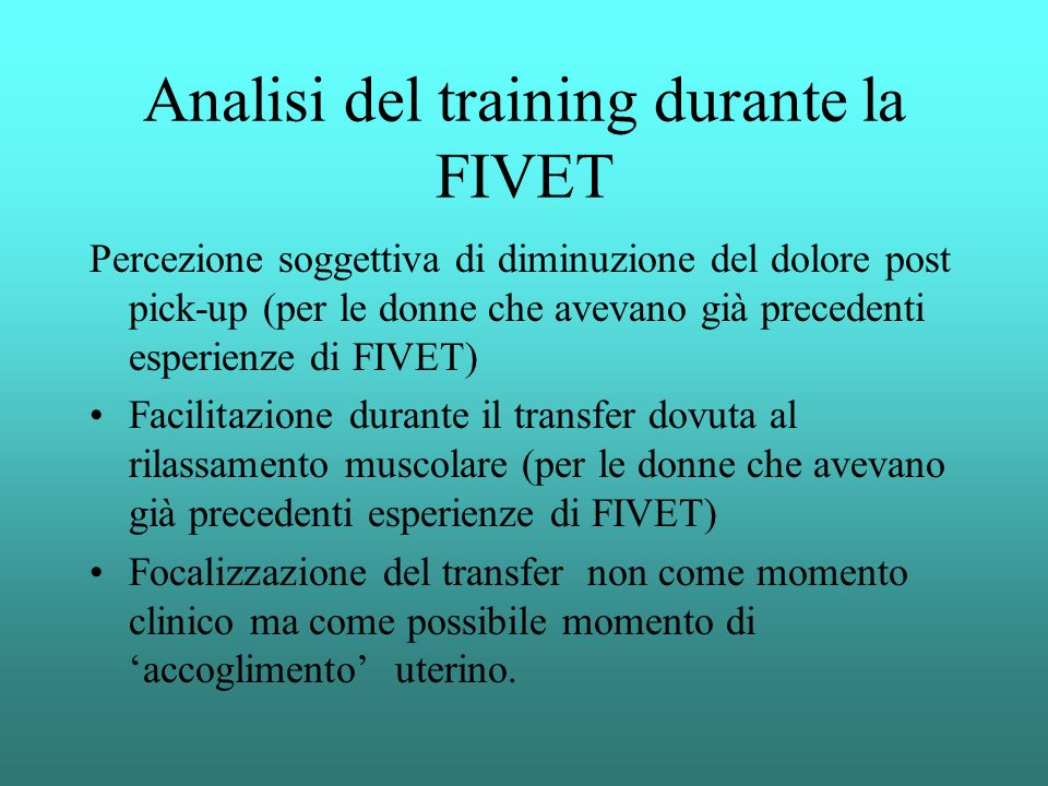 Analisi del training durante la FIVET
