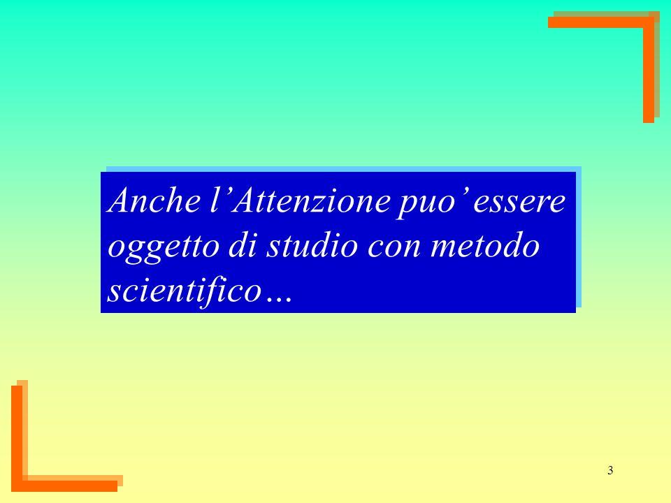 Anche l'Attenzione puo' essere oggetto di studio con metodo scientifico…