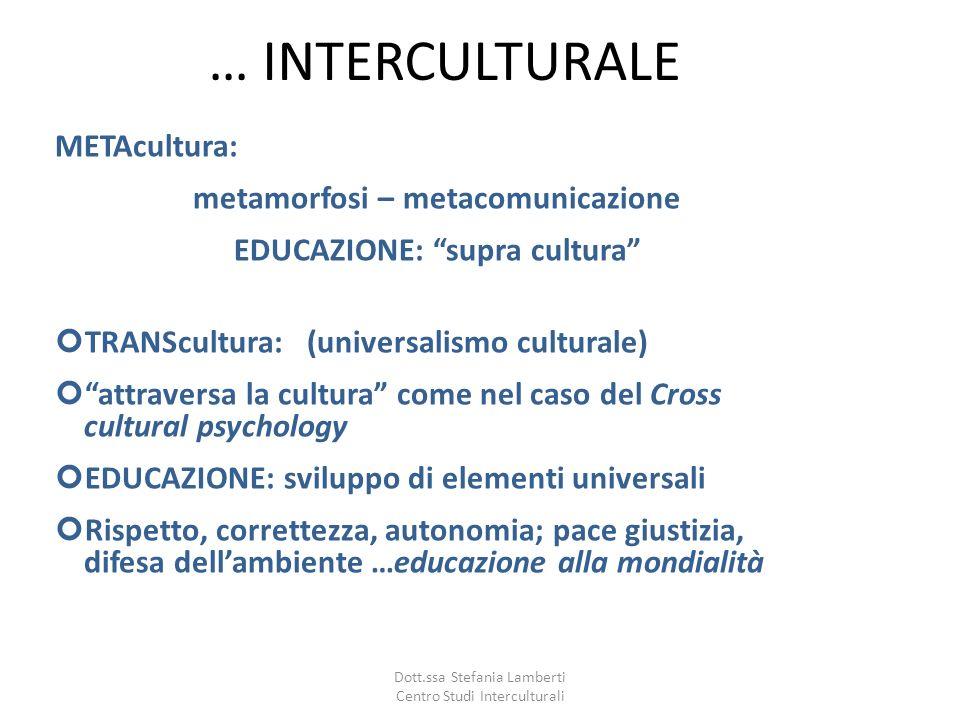 metamorfosi – metacomunicazione EDUCAZIONE: supra cultura