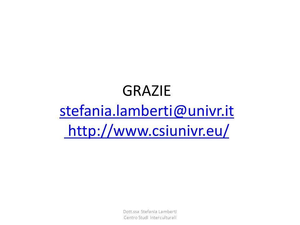 GRAZIE stefania.lamberti@univr.it http://www.csiunivr.eu/