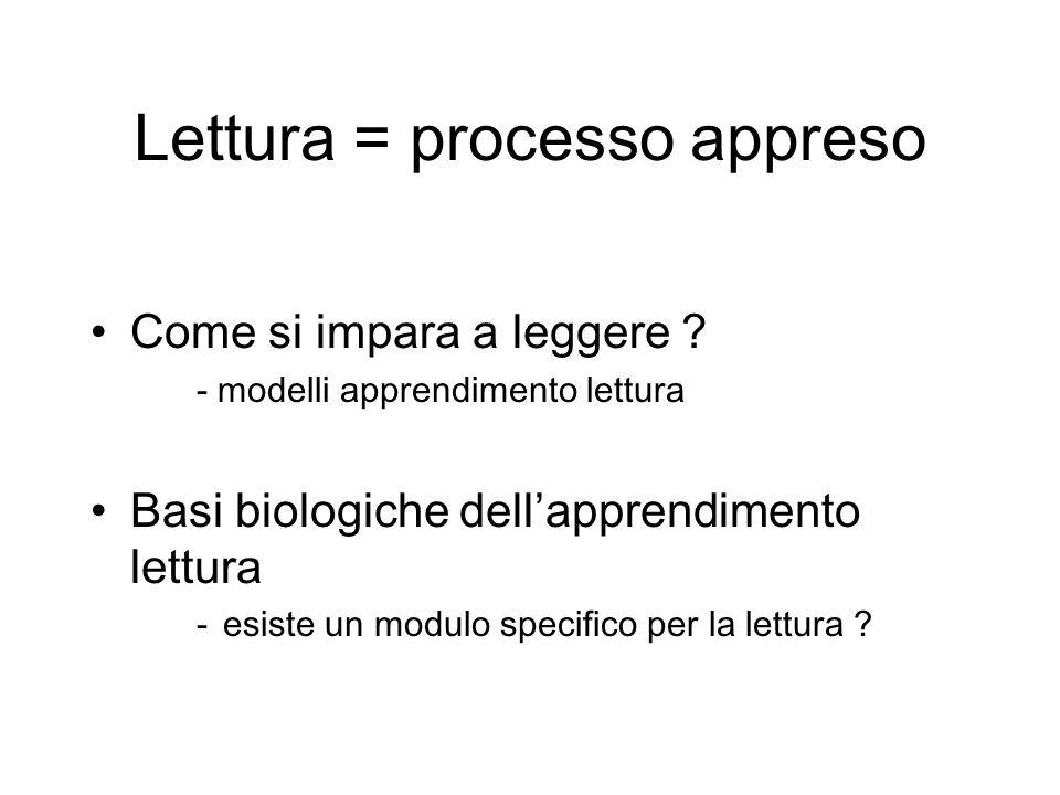 Lettura = processo appreso