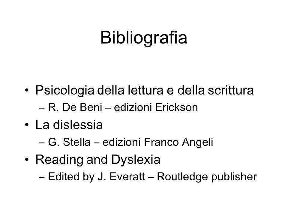 Bibliografia Psicologia della lettura e della scrittura La dislessia