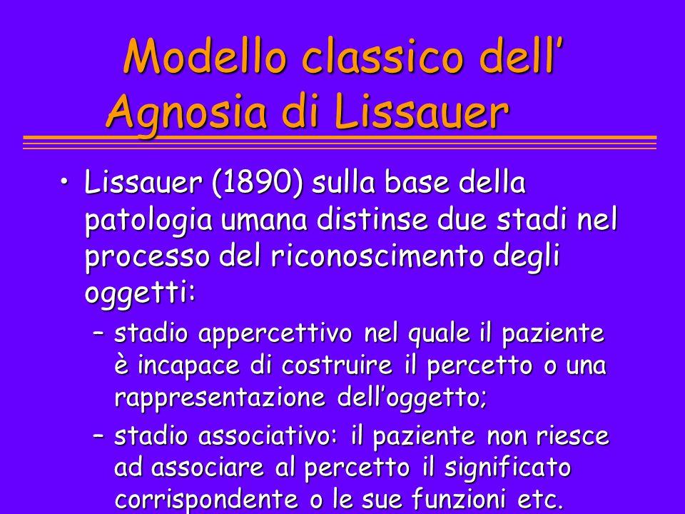 Modello classico dell' Agnosia di Lissauer