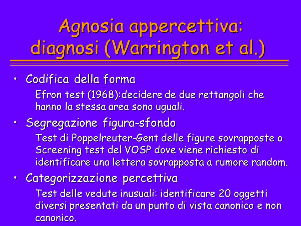 Agnosia appercettiva: diagnosi (Warrington et al.)