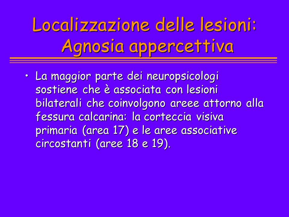 Localizzazione delle lesioni: Agnosia appercettiva