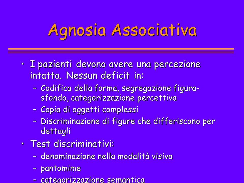 Agnosia Associativa I pazienti devono avere una percezione intatta. Nessun deficit in: