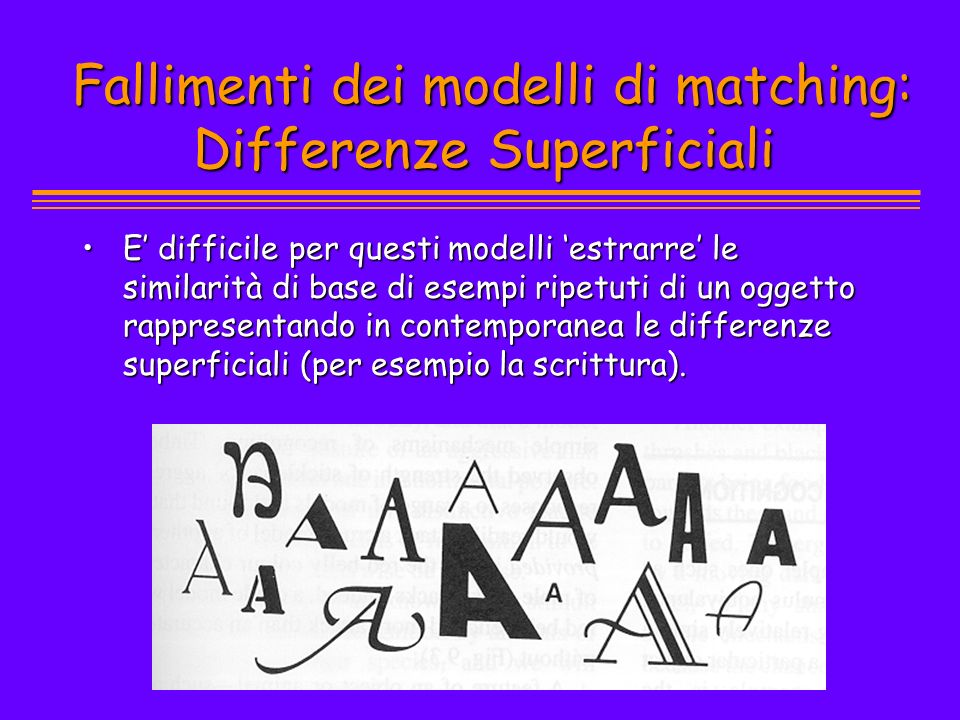 Fallimenti dei modelli di matching: Differenze Superficiali