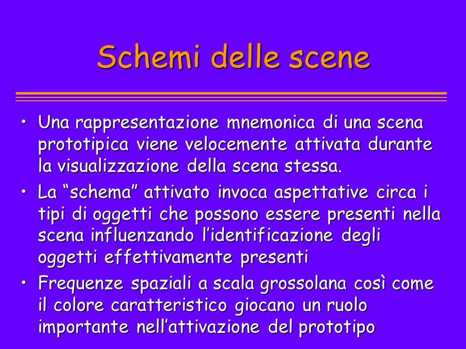 Schemi delle scene Una rappresentazione mnemonica di una scena prototipica viene velocemente attivata durante la visualizzazione della scena stessa.