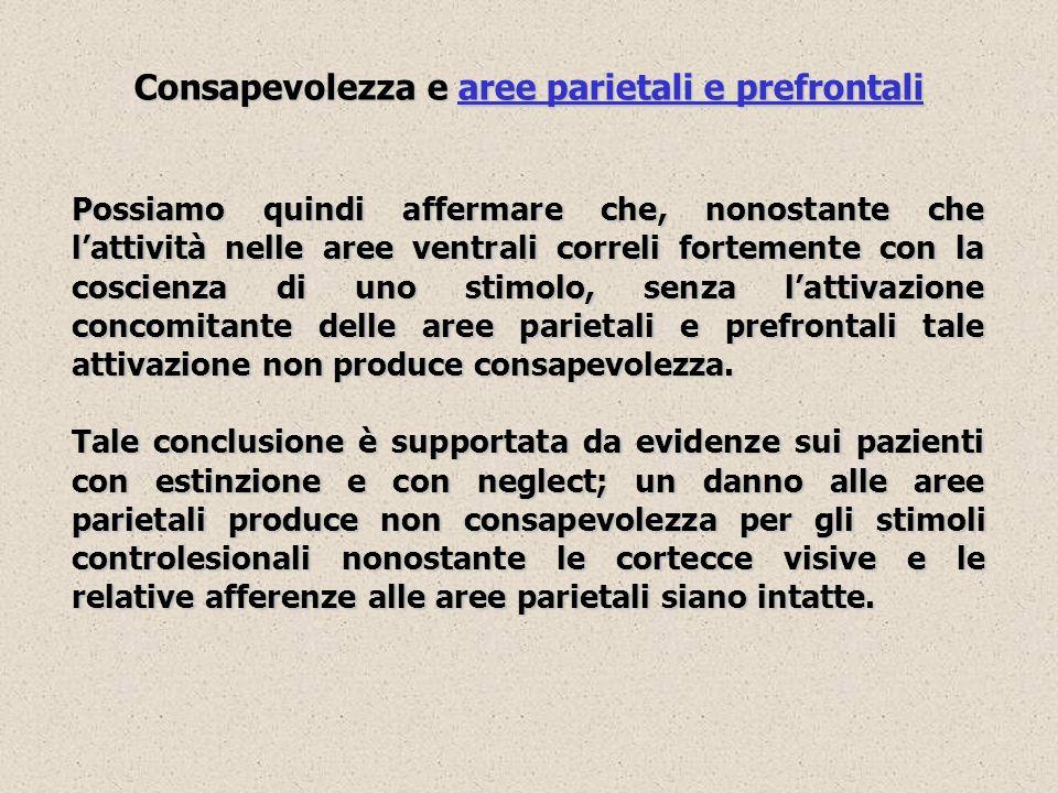 Consapevolezza e aree parietali e prefrontali