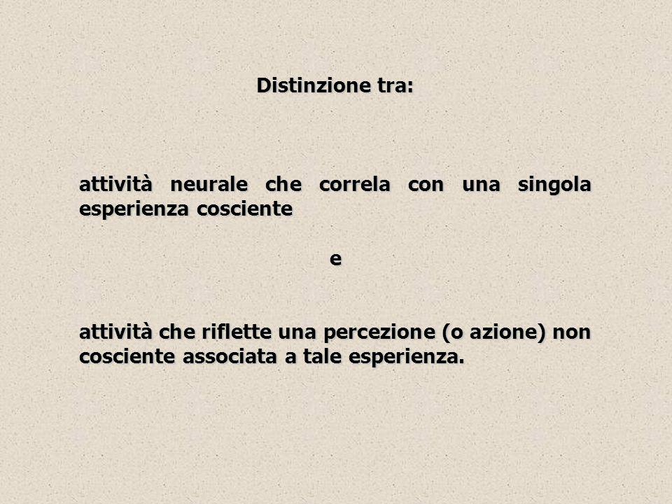 Distinzione tra:attività neurale che correla con una singola esperienza cosciente. e.