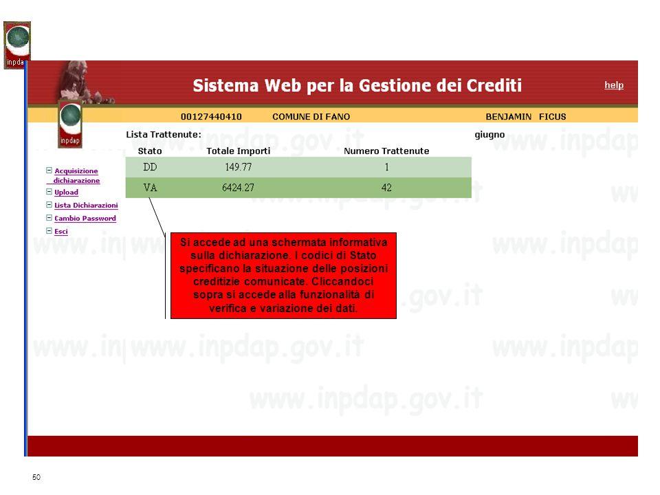 Si accede ad una schermata informativa sulla dichiarazione