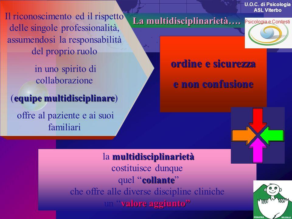 La multidisciplinarietà…. La multidisciplinarietà….