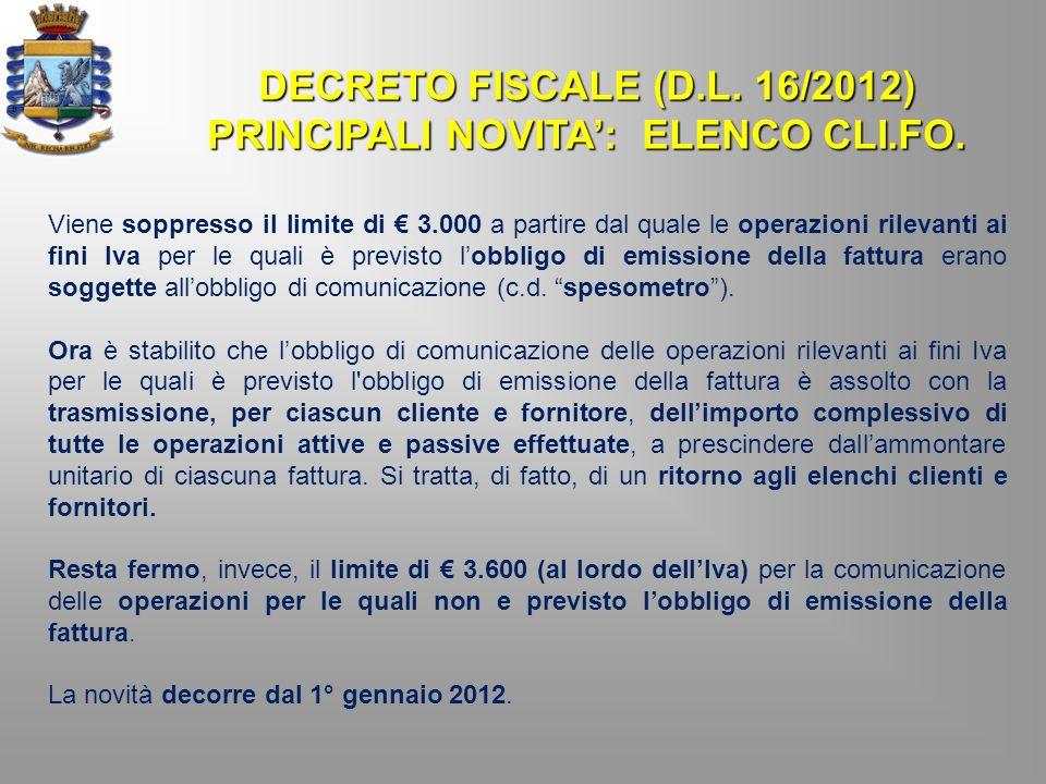 PRINCIPALI NOVITA': ELENCO CLI.FO.