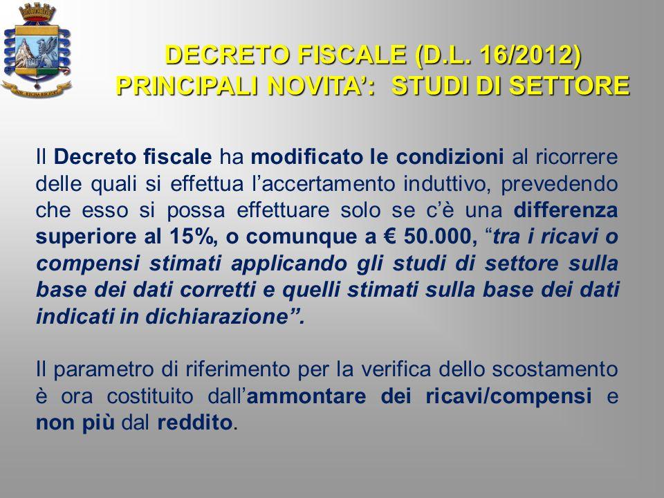 PRINCIPALI NOVITA': STUDI DI SETTORE
