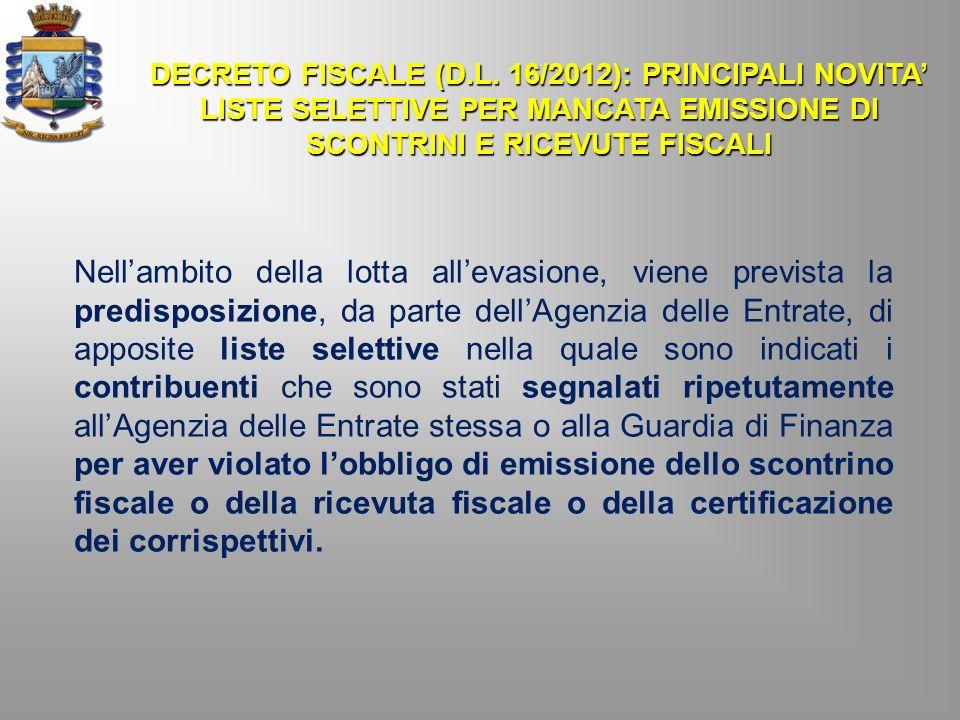 DECRETO FISCALE (D.L. 16/2012): PRINCIPALI NOVITA'